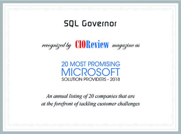 SQL governor CIO Review 20 Most Promising Microsoft Solution Providers